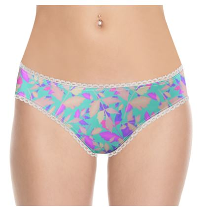 Knickers, Turquoise, Mauve, Leaf  Cathedral Leaves  Turquoise Sea