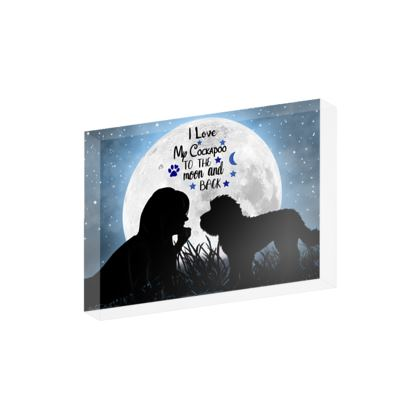 Cockapoo i love you to the moon and back Acrylic block