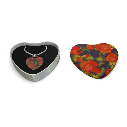 Sterling Silver Heart Pendant, Orange, Black, Flower  Field Poppies  Sunny Poppy