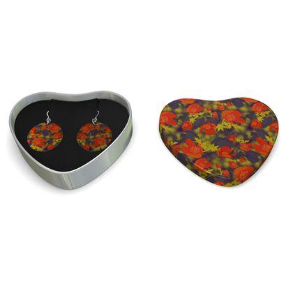 Sterling Silver Earrings, Orange, Black, Flower  Field Poppies  Sunny Poppy