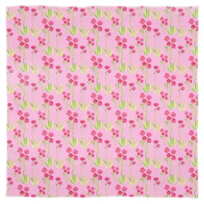 Crimeon Pink flower field Scarf Wrap / Shawl