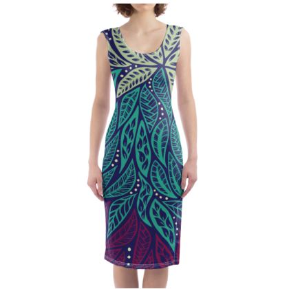 Blue and Purple Polynesian Flower Floral Tattoo Designed Bodycon Dress