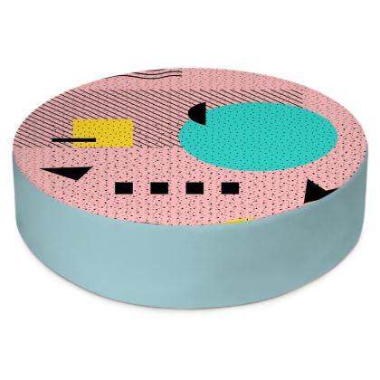 Hello Memphis Peach Berry Round Floor Cushion