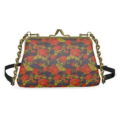 Flat Frame Bag, Orange, Mustard, Flower  Field Poppies  Sunny Poppy