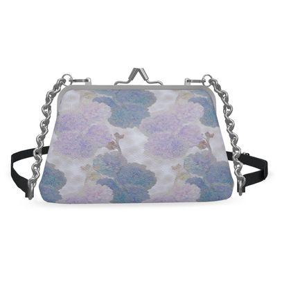 Flat Frame Bag, Blue, Mauve, Flower  Hollyhocks  Blueberry