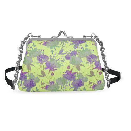 Flat Frame Bag, Yellow, Mauve, Flower  Fuchsias  Primrose Hill