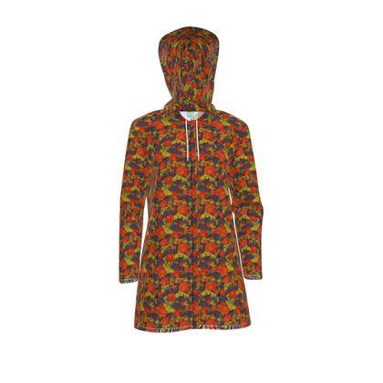 Women's Hooded Rain Mac, Orange, Black, Flower  Field Poppies  Sunny Poppy