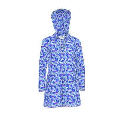 Women's Hooded Rain Mac, Blue, White, Flower  Field Poppies