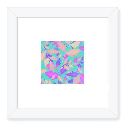 Framed Art Prints, Turquoise, Pink, Leaf  Cathedral Leaves  Turquoise Sea