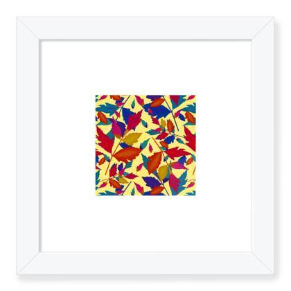 Framed Art Prints, Cream, Turquoise, Leaf  Diamond Leaves  Cracker