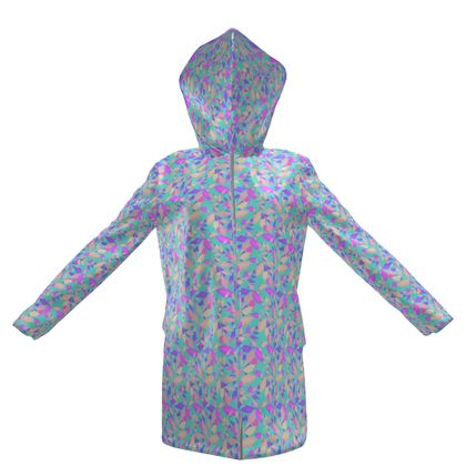 Womens Hooded Rain Mac, Turquoise, Pink  Leaf  Cathedral Leaves  Turquoise Sea