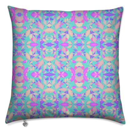 Cushions. Turquoise, Pink, Leaf  Cathedral Leaves  Turquoise Sea