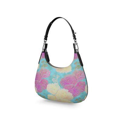 Mini Curve Bag, Turquoise, Pink, Flower  Hollyhocks  England