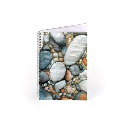 Beach and pebble designer Spiral Note Book