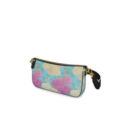 Baguette Bag, Turquoise, Pink, Flower,  Hollyhocks  England