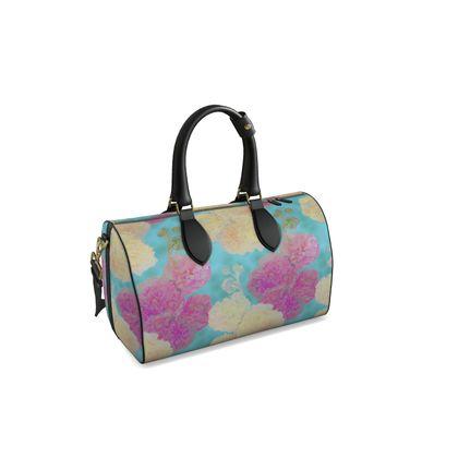 Duffle Bag, Turquoise, Pink, Flower  Hollyhocks  England