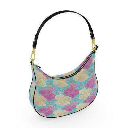 Curve Hobo Bag, Turquoise, Pink, Flower  Hollyhocks  England