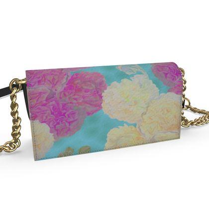 Kenway Evening Bag, Turquoise, Pink, Flower  Hollyhocks  England