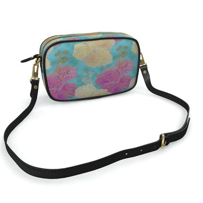 Camera Bag, Turquoise, Pink, Flower  Hollyhocks  England