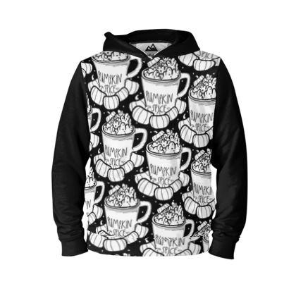 Pumpkin spice black and white pattern - hoodie