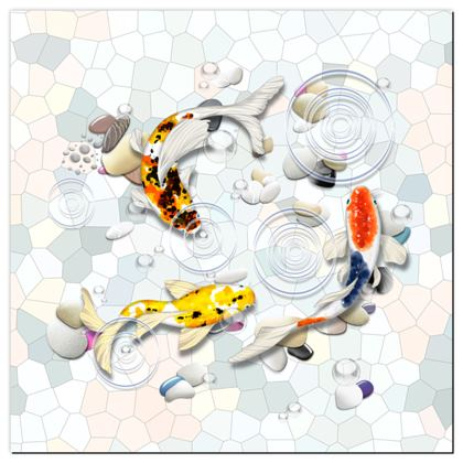 Playmat - 'Clear Water Koi' Theme, Artwork Two 130x130cm