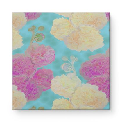 Square Canvas Wholesale, Turquoise, Pink, Flower  Hollyhocks  England