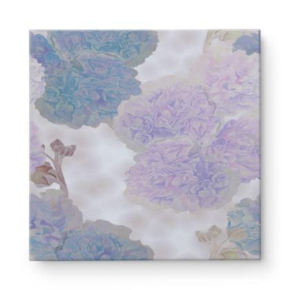 Square Canvas Wholesale, Turquoise, Mauve, Flower  Hollyhocks  Blueberry