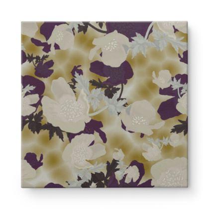 Square Canvas Wholesale Ivory, Aubergine, Flowers  Field Poppies  Blackberry Latte