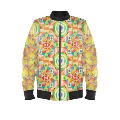 Geometric Autumn Leaves Mens Bomber Jacket