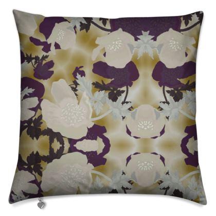 Cushions Aubergine, Ivory, Flower  Field Poppies  Blackberry Latte