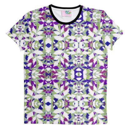 Cut And Sew All Over Print T Shirt, Blue, Mauve, Leaf  Diamond Leaves  Treetops