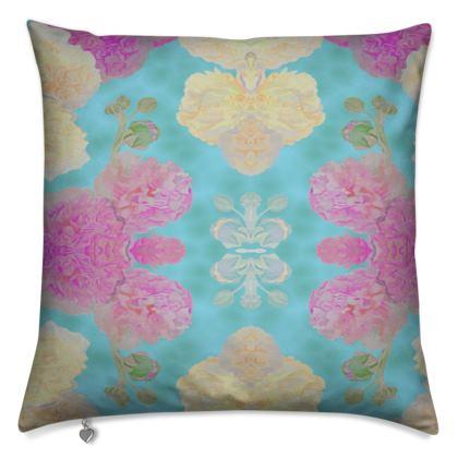Cushion, Turquoise, Pink, Flower  Hollyhocks  England