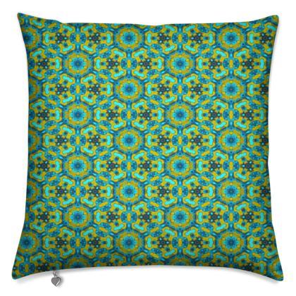 Cushions, Green, Gold, Geometric  Geometric Florals  Moonbase