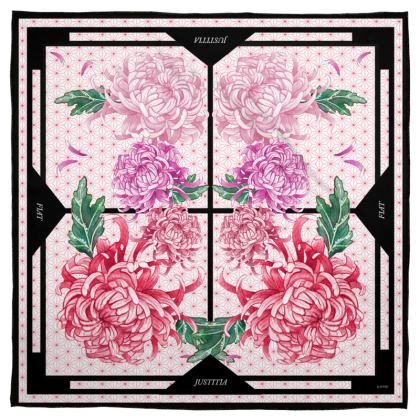 """""""Let Justice Be Done"""" Floral Chrysanthemum Silk Scarf 35 x 35"""" (90 x 90 cm)"""