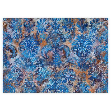 Grunge Damask cobalt blue rust orange