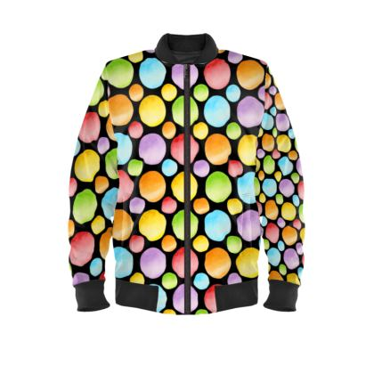 Rainbow Polka Dot Ladies Bomber Jacket