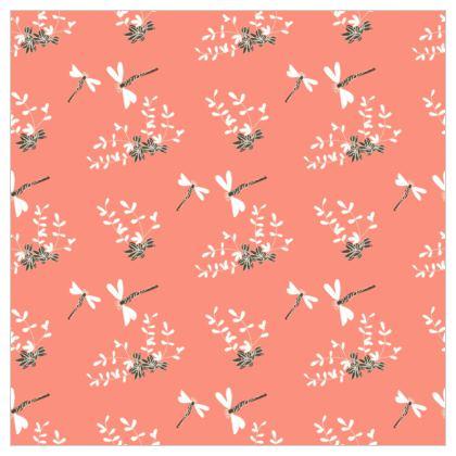 Hot day - Fabric Printing - summer dragonflies, coral pink, natural gift