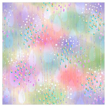 Tears of the rainbow - Fabric Printing - multicolor watercolor clouds, glitter rain, bright gift