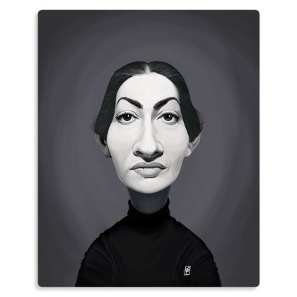 Maria Callas Celebrity Caricature Metal Print