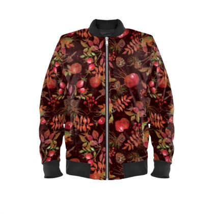 Autumn Garden - Mens Bomber Jacket - orchard, watercolor gift, natural, picturesque, fruits, floral