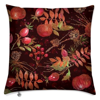 Autumn Garden - Cushions - orchard, watercolor gift, natural, picturesque, apples, floral