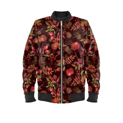 Autumn Garden - Ladies Bomber Jacket - orchard, watercolor gift, natural, picturesque, apples, floral