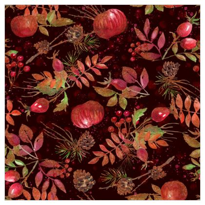 Autumn Garden - Fabric Printing - orchard, watercolor gift, natural, picturesque, apples, floral