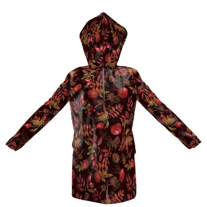 Autumn Garden - Womens Hooded Rain Mac - orchard, watercolor gift, natural, picturesque, apples, floral