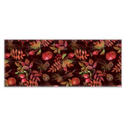 Autumn Garden - Table Runner - leaves, watercolor gift, natural, picturesque, apples, floral
