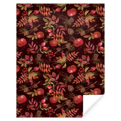 Autumn Garden - Gift Wrap - orchard, watercolor gift, natural, picturesque, apples, floral
