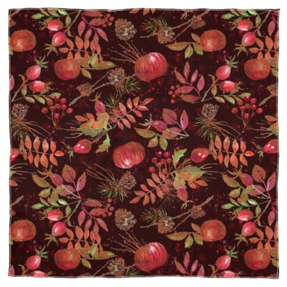 Autumn Garden - Scarf Wrap or Shawl - Botanical, watercolor gift, natural, picturesque, apples, floral