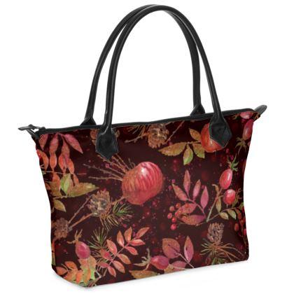 Autumn Garden - Zip Top Handbag - fall, watercolor gift, natural, picturesque, apples, floral