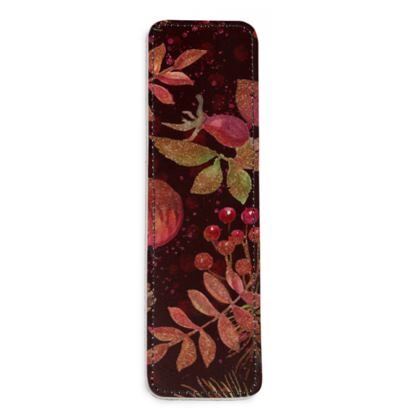 Autumn Garden - Leather Bookmarks - hand-painted, watercolor gift, natural, fall, apples, floral
