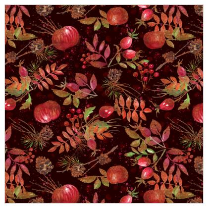 Autumn Garden - Leather Printing - orchard, watercolor gift, natural, hand-painted, apples, floral